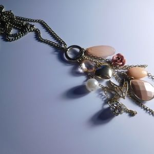 Jewelry - Dangle Necklace Bird Flower Pink 31 Inches